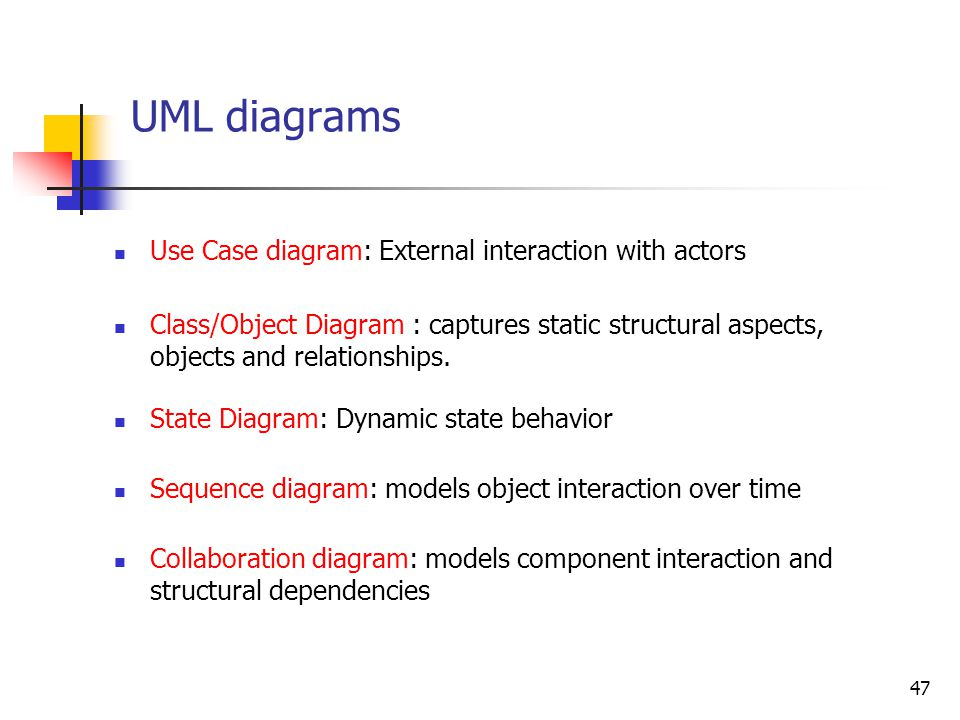 Introduction to UML[4] Model elements Class Object State Use case